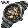 Hot Nary Winner Luxury Brand Sports Men's Automatic Skeleton Mechanical Military Wrist watch Men full Steel Stainless Band reloj
