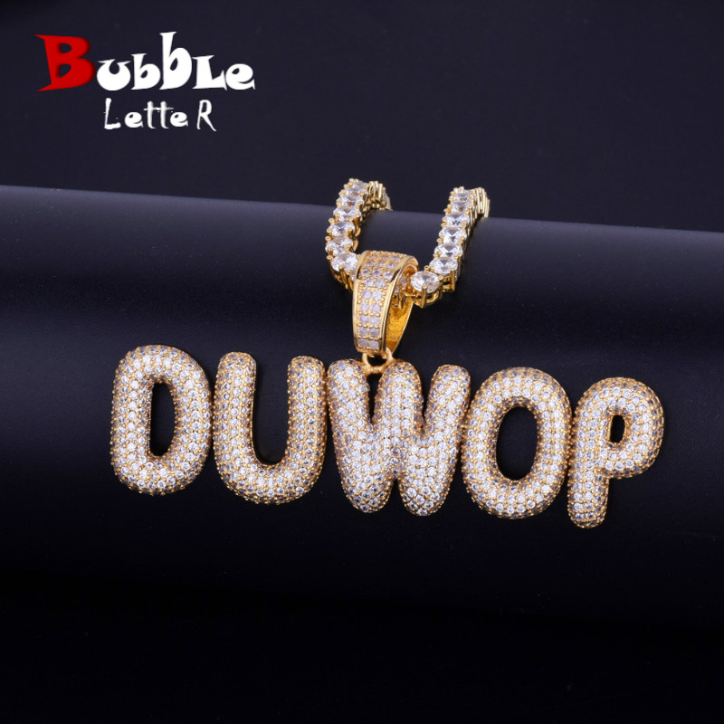 A-Z Custom Name Small Bubble Letters Necklaces & Pendant Charm Men's Zircon Hip Hop Jewelry With 4MM Gold Silver Tennis Chain(China)