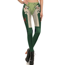 1718 Fitness Elastic Women Leggings Sexy Girl Polyester Slim Fit Workout Pants Trousers leather Armour Green Symbol Printed