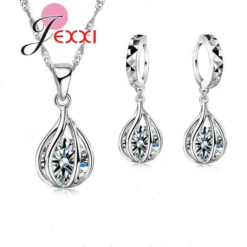 Party Wedding Jewelry Set  925 Sterling Silver Necklace Earrings Set Women Water Drop Pendant With Clear Cubic Zirconia