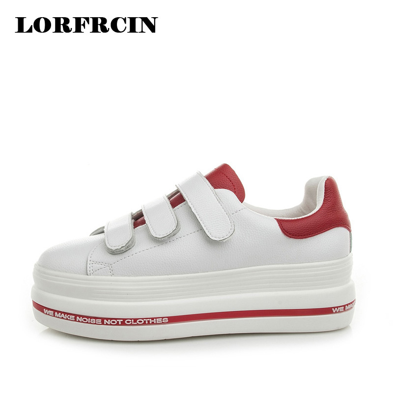 LORFRCIN Spring Creeper Genuine Leather Women Flat Platform Shoes Hook&Loop Shoes For Women Thick Bottom Shoes Woman Size 33-39