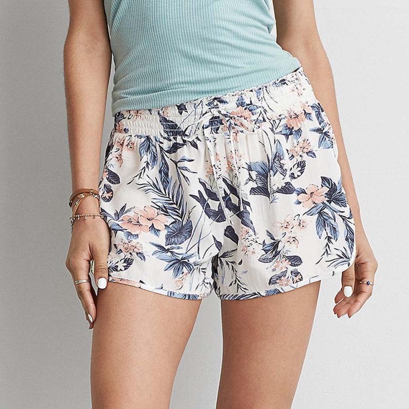 Chamsgend Durable 2017 hot flower Printed Short Women Sexy Hot Pants Summer Shorts High Waist Drawstring Print Short Pants 1