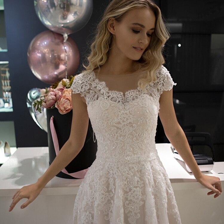 2019 Cheap Elegant Vestidod De Noiva A Line Appliqued Lace Wedding Dress Romantic Blush Cap Sleeve Garden Wedding Bridal Gowns
