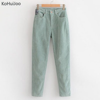KoHuiJoo Autumn Winter Women's Corduroy Pants Solid Colored Casua Harem Pants Casual High waist Trousers Female