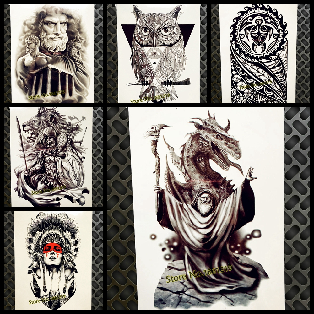 Gandalf Designs Fake Waterproof Temporary Tattoo For Men Women Body Art Arm Legs Tattoo Sticker 21*15CM Dragon Flash Tatoo Black
