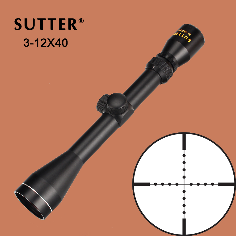 SUTTER 3-12X40 Full Size Hunting Riflescope Mil Dot Wire Reticle Tactical Optical Sights For Shooting Rifle Airguns tactical hunting shooting riflescope optical 3 9x32 aolwq 1inch tube mil dot compact with sun shade and qd rings for hunting