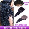 Brazilian virgin hair loose wave lace closure free part Alibarbara hair unprocessed Brazilian loose wave lace closure