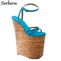 Sorbern 10 дюймов Aqua сандалии женские с ремешками на лодыжках сандалии на танкетке с ремешками на лодыжках женские экстремальные фетиш туфли на