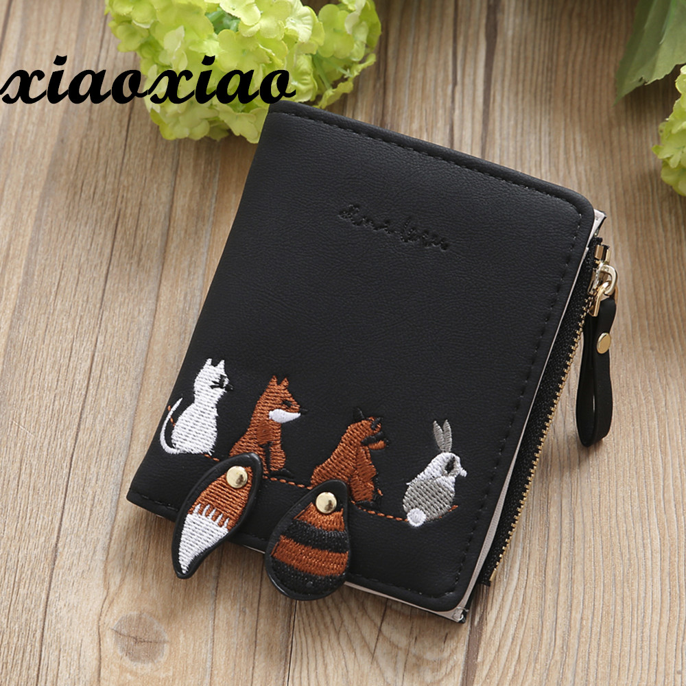 Individuality PU Leather Hasp Zipper Mini Coin Card Holder Women Cute Cartoon Embroidery Wallet Short Purse Popular Wholesales youyou mouse fashion cute wallet cartoon embroidery pattern retro purse short section pu leather 2 fold multi card bit wallets
