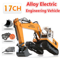 Wireless Electric Simulation RC Excavator Alloy Model 2.4G 64CM 17CH Drill Grab Dig 3 In 1 Large Remote Control Alloy RC Truck