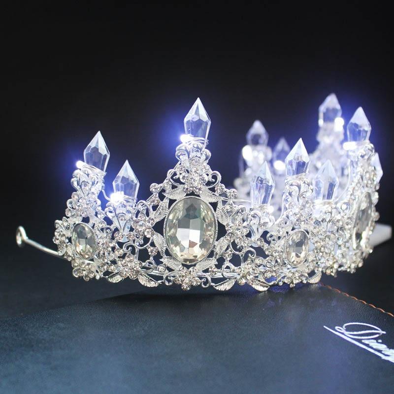 New Arrivla Big Baroque LED Tiara Women Crystal Floral Headdress Rhinestone Light Crowns Wedding Hair Accessories DA