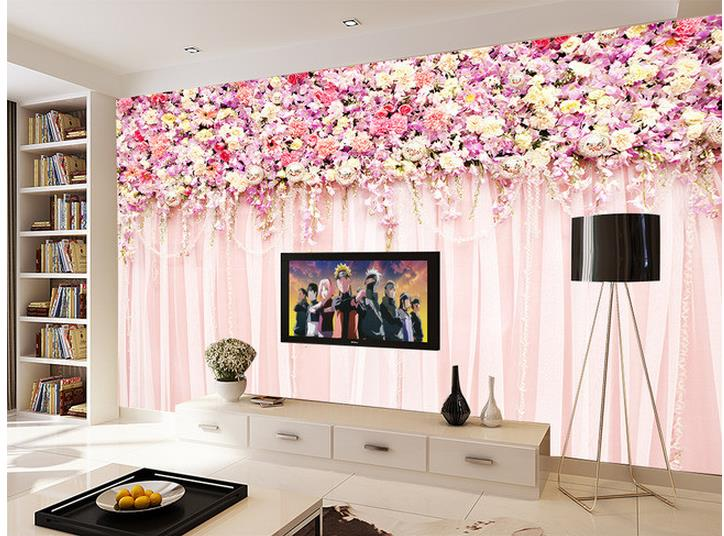 Popular pink flowers wallpapers buy cheap pink flowers for Pink living room wallpaper