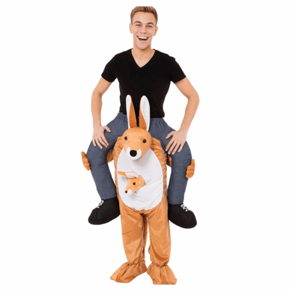 Novelty Kangaroo Ride On Mascot Costumes Carry Back Fun Animal Pants Fancy Dress Up Oktoberfest Halloween Party Cosplay Clothes