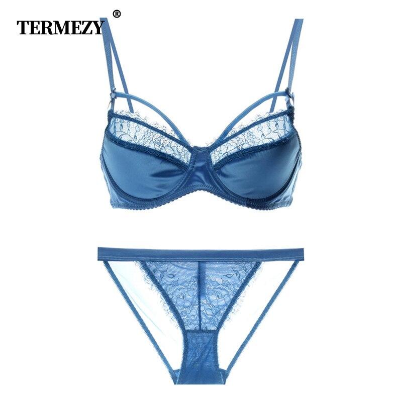 TERMEZY Women Underwear set Push up Bralette Women Underwear Bra & Brief Sets Satin Lingerie Sexy Panties And Bra Sets