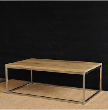 European retro stainless steel wood coffee table  coffee mine