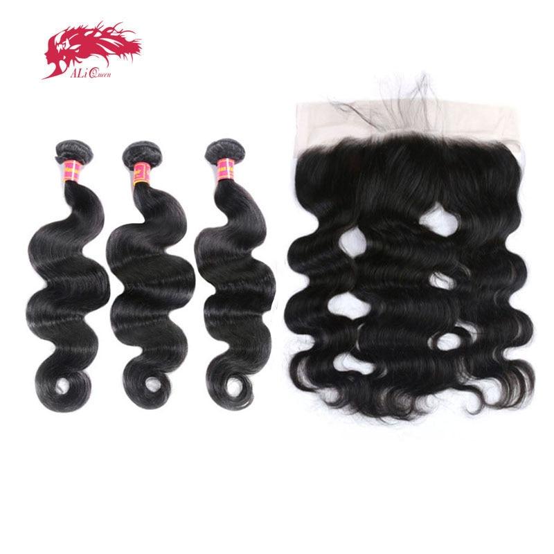 Ali Queen Hair Human Hair 3 Bundles Remy Hair Brazilian Body Wave Closure Ear To Ear