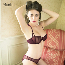 Munllure 新スタイル超薄型刺繍セクシーな女性ブラセットフロント閉鎖ラウンジ下着女の子プッシュアップブラジャーとパンティーセット