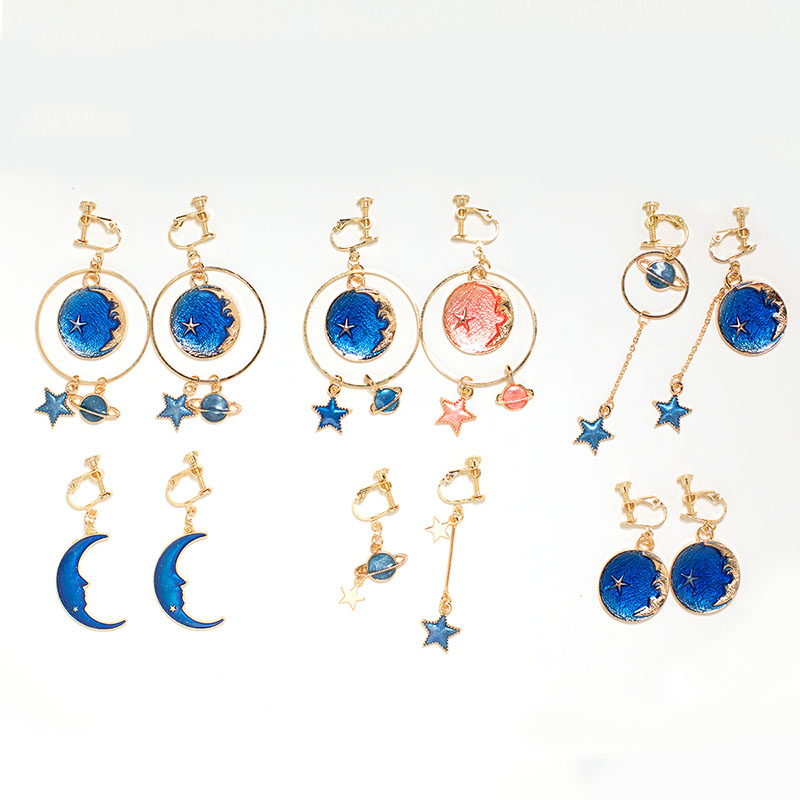 Grace Jun Top Quality Enamel Moon Planet Stars Shape Clip on Earrings Without Piercing for Women Party Luxury No Hole Earrings