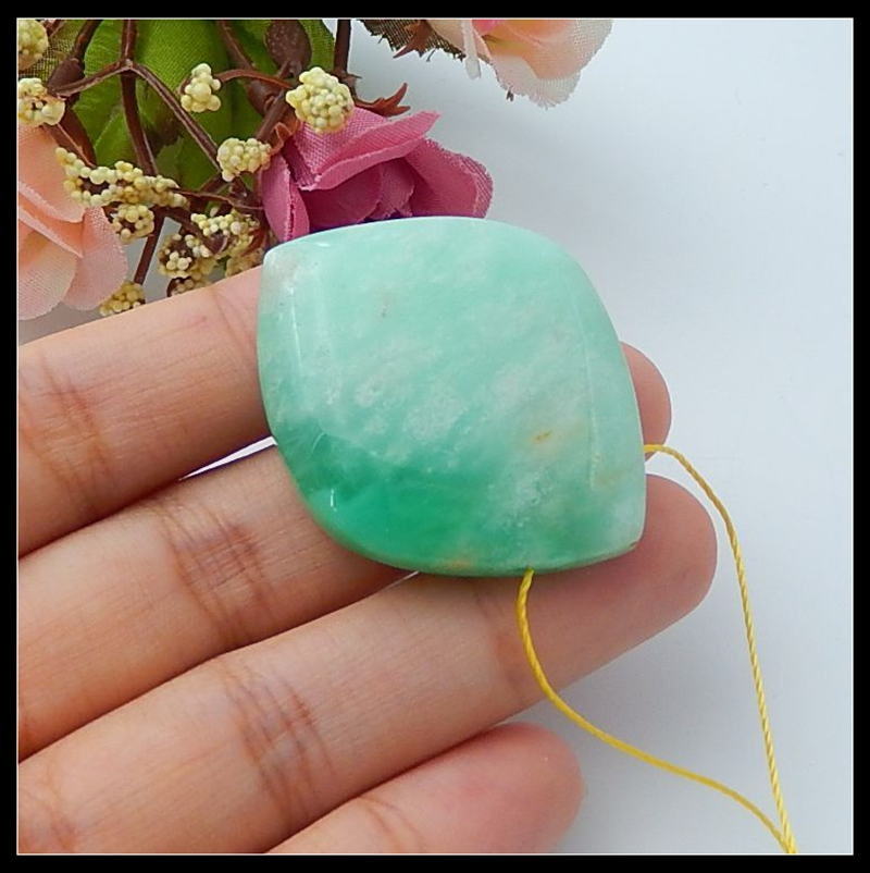Natural Stone Chrysoprase necklace Pendant 39x31x11mm 17.83g fine jewelry semiprecious stone necklace beads for women characteristic rhinestoned geometric beads pendant necklace for women