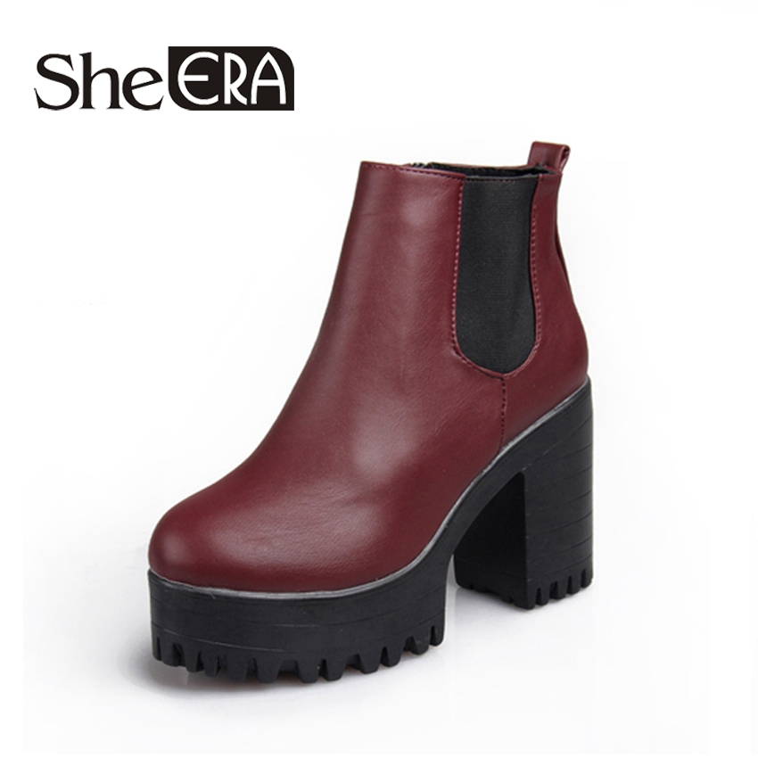 She Era Women Boots Platforms Square Heel Autumn Winter Ankle Boots Paint Leather Boots Fashion Motorcycle