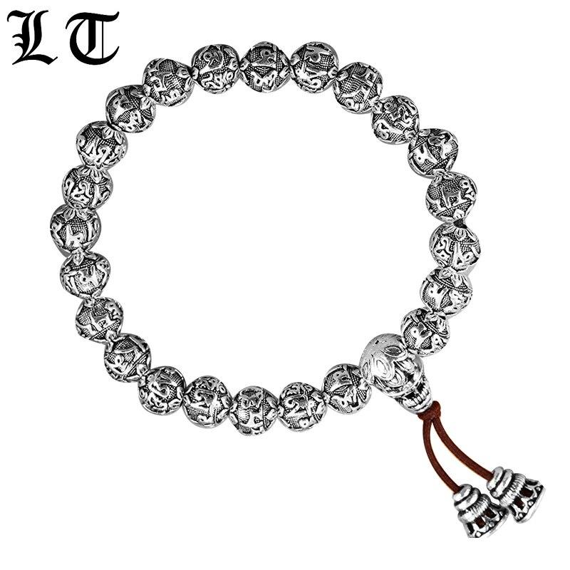 LT Beads Bracelet Men 990 Sterling Silver Handmade Vintage Elastic Rope Buddha Bracelets For Men Mantras Bead Jewelry For Male a suit of vintage devil eye faux leather beads bracelets for men