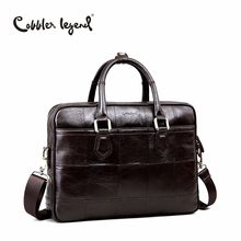 Cobbler Legend Brand Designer Men's Real Leather Briefcase Bag For Male Crossbody Bags For 15'' Laptop Business Bag 0907159-A-1(China)