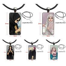 Dla kobiet Handmade Girls orientalna kobieta w hidżab twarz muzułmański islamski naszyjnik moda długi łańcuszek z prostokątem naszyjnik biżuteria