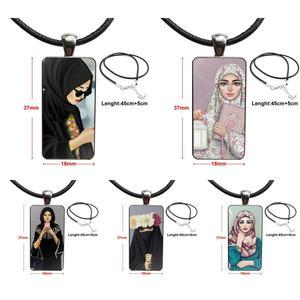 Image 1 - Voor Vrouwen Handgemaakte Meisjes Oosterse Vrouw In Hijab Gezicht Moslim Islamitische Ketting Mode Lange Ketting Met Rechthoek Ketting Sieraden