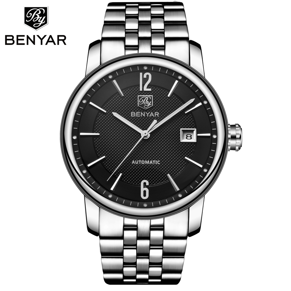 2018 BENYAR Automatic Watch Mens Watches Top Luxury Brand Gold Silver Mechanical Business Clock Relogio Masculino