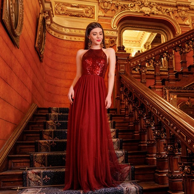 81eb73e9811 Ever-Pretty Brand Burgundy Evening Dresses 2018 Long Backless A Line Halter  Formal Party Gowns robe de soiree abiye EP07286
