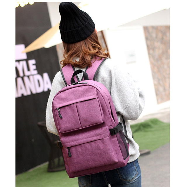 1301e34ff5 USB laptop Backpack women Canvas Large Capacity schoolbags student Book Bags  Boys college Men School Bags