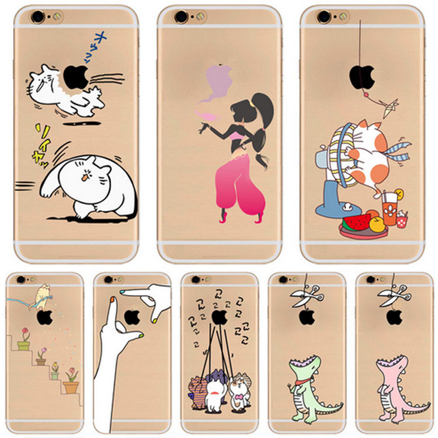 0484754599 Hot Sale Clear Cute High Quality Cat Animals Pattern Phone Cases For iPhone  Shell 5 5s SE 6 6s 7 8 X Plus Protective Coque