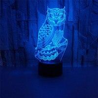Owl on the tree 3D light 3D stereo vision touch sensor night light bedside lamp night light for children led battery lamp baby