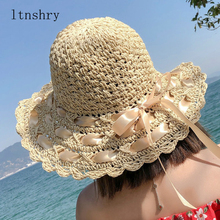 2019 new Summer Sun Hats For Women Lace Cotton soft Big Fashion Design Beach Hat Foldable Brimmed bow Straw
