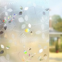 3D Stained Window Cover Film Non-Adhesive Decorative Frosted Colorful Leaf Static Cling Privacy PVC Glass Stickers 45*200cm