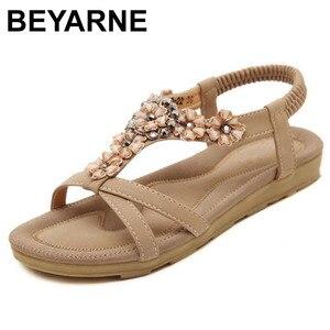 Image 5 - BEYARNE Neue Böhmischen Stil 2018 Sommer Frauen Schuhe Mode Frauen Sandalen Flache Ferse Marke Strand Sommer Schuhe Damen Süße