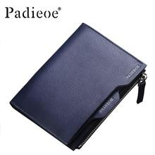 Padieoe High Quality Cattle Split Leather Men Zipper Wallet Fashion Men's Bifold Short Purse Luxury Card Holder Money Bag