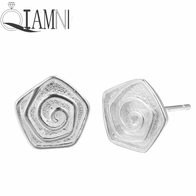 QIAMNI 925 Sterling Silver Multilayer Rose Flower Stud Earring Women Girl Birthday Christmas Gift Pendientes Jewelry Accessories