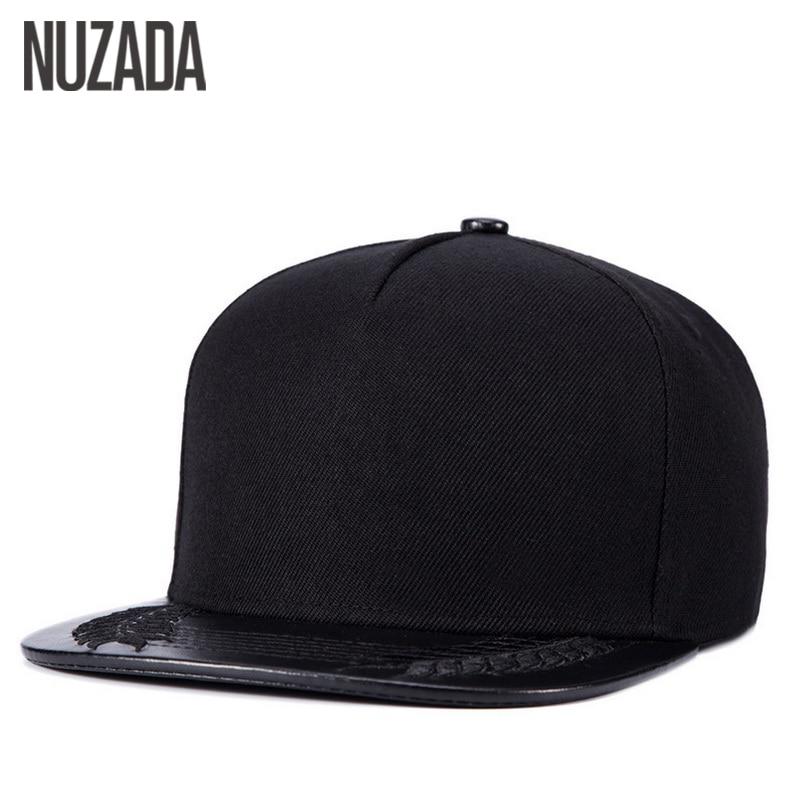 Prix pour Marques NUZADA Hip Hop Chapeaux Hommes Femmes Baseball Snapback Caps PU En Cuir Os Classique Rue Simplicité Cap jt-055