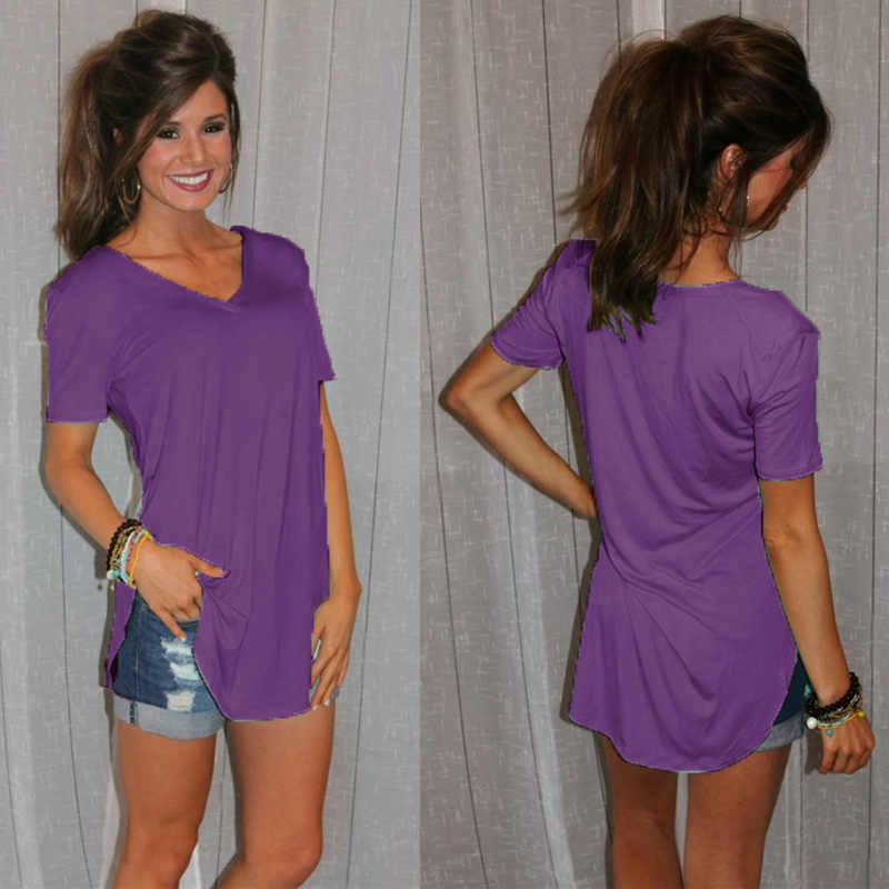 Для женщин футболка лето плюс размеры Tee Повседневная Женская футболка Твердые V средства ухода за кожей шеи короткий рукав с длинным повседневное женщи