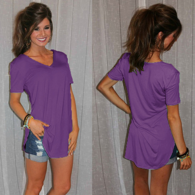 Previous Next Women's Basic Casual Long Top T-shirt