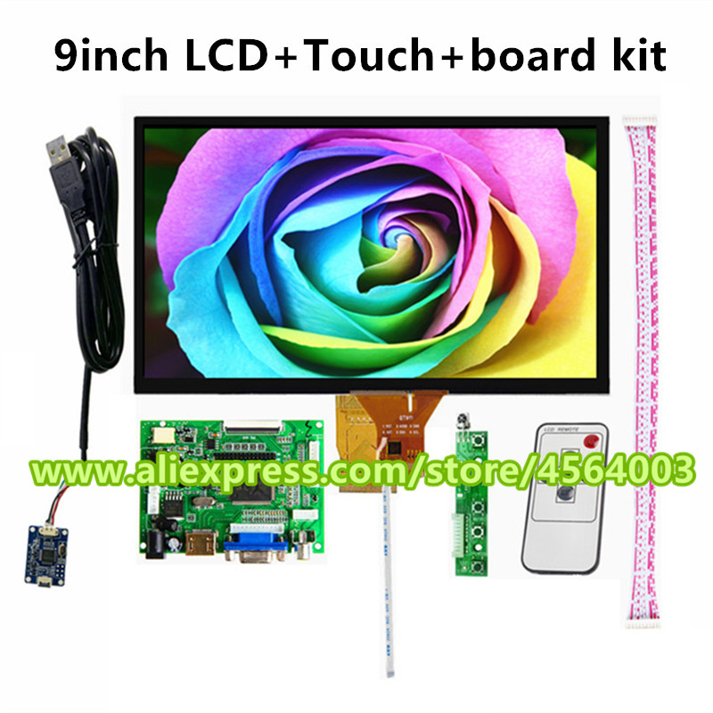 9 inch for <font><b>Raspberry</b></font> <font><b>Pi</b></font> 3 <font><b>Display</b></font> 1024*600 LCD Monitor with <font><b>Capacitive</b></font> touch screen HDMI VGA AV audio Driver Board Controller image