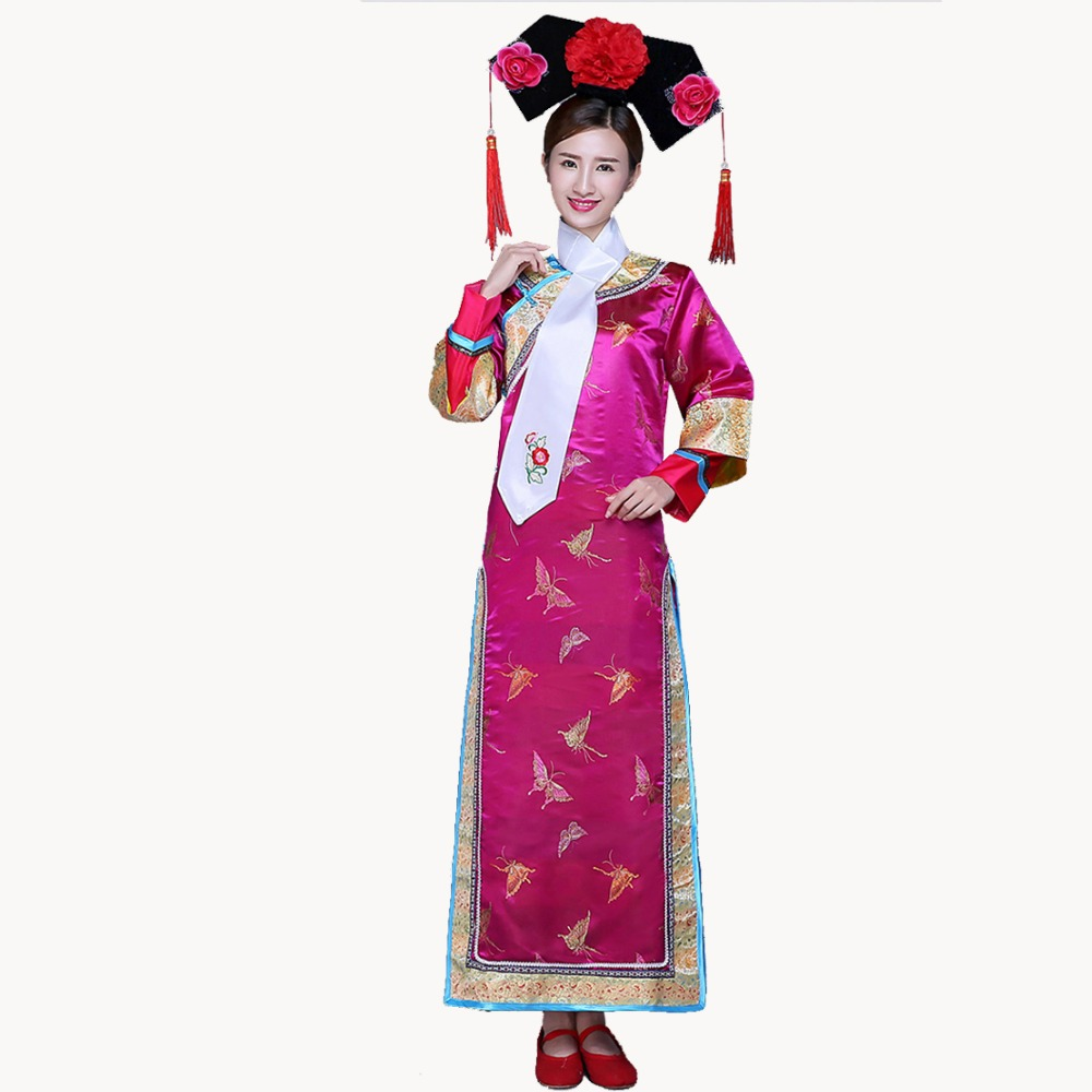 Qing Dynasty Dramaturgic Dress Women's Chinese Traditional Ancient Infanta Costume Peri Theatrical Robe Dande Wear YZT081903