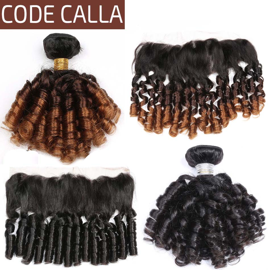 Code Calla Ombre Brown Color Bouncy Curly Bundles With 13*4 Lace Frontal Free Part Indian Raw Virgin 100% Unprocessed Human Hair
