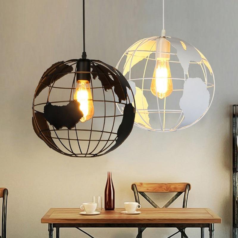 modern black white pendant lights round iron retro ...