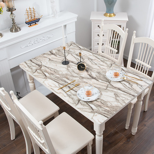 Image 5 - Nordic imitation marble tablecloth soft glass PVC waterproof oilproof table mat party wedding table decoration pad custom made