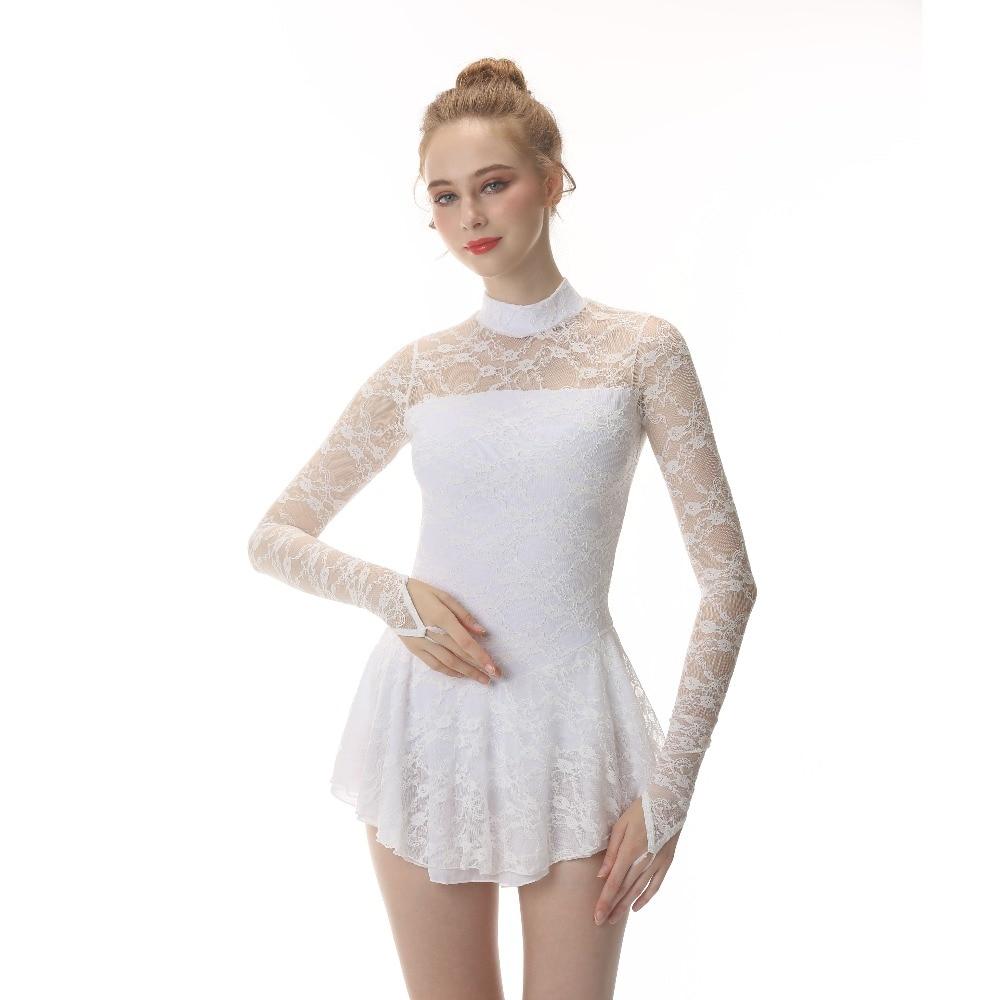 White Figure Skating Dress Ice Skating Skirt Long Sleeved Spandex