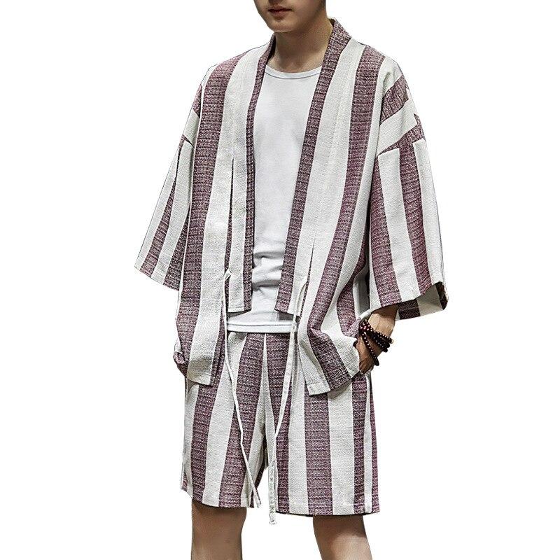 Japanese Style Men Cotton Linen Casual Suit Loose Vintage Home Wear Plus Size Male Set Summer New Shirt&Pant 3XL 4XL 5XL