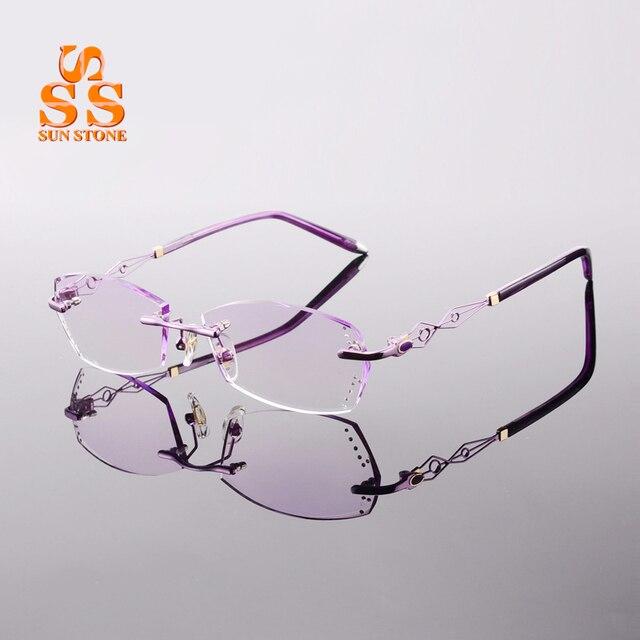 High Grade Women Rimless Myopia or Presbyopia Glasses Filling Prescription Fashion Diamond Cutting Gradient Optics Eyewear F134