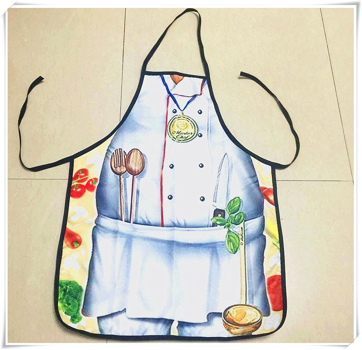 1Pcs BBQ Apron DIY Outdoor Barbecue Accessorie Polyester Lovely Printed Kitchen Cooking Home White Cook 73cm/28.4x57cm/22.2